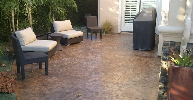 brown textured concrete patio stained originals tips staining pavers design ideas cost