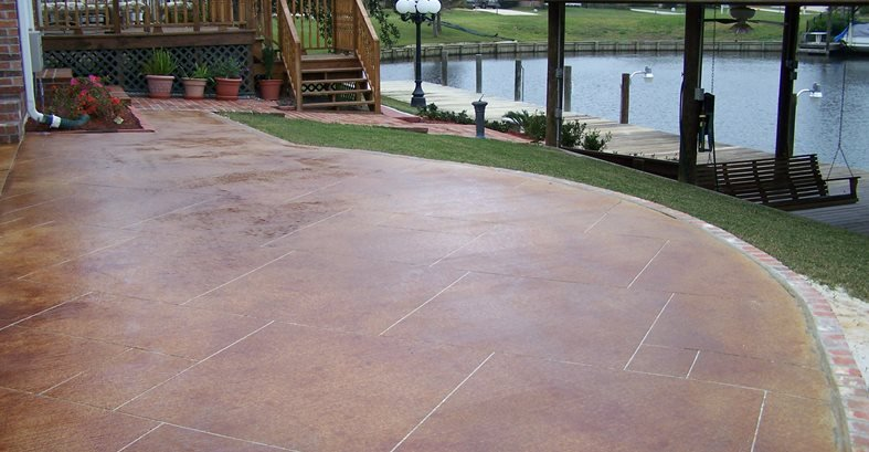 Red Stain Sawcut Grout Lines Concrete Patios Artistic Floors Llc Madisonville La