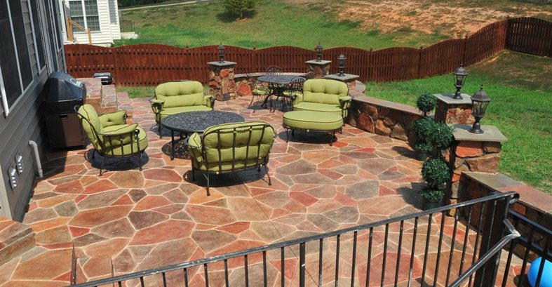 staining concrete patio youtube slab stones residential stamped custom