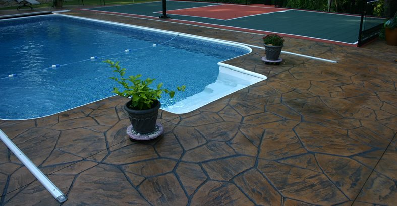Brown, Stone Concrete Pool Decks Decorative Concrete of the Tri-State Ironton, OH
