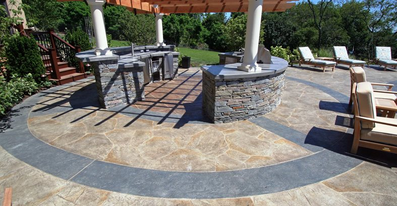 Open, Circlcular Concrete Pool Decks New England Hardscapes Inc Acton, MA