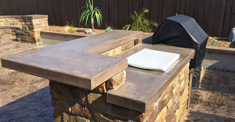 Outdoor Countertop, Integral Color Concrete Pool Decks KB Concrete Staining Norco, CA