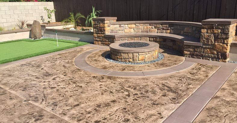 Stamped Concrete, Backyard Makeover, Fire Pit Concrete Pool Decks KB Concrete Staining Norco, CA
