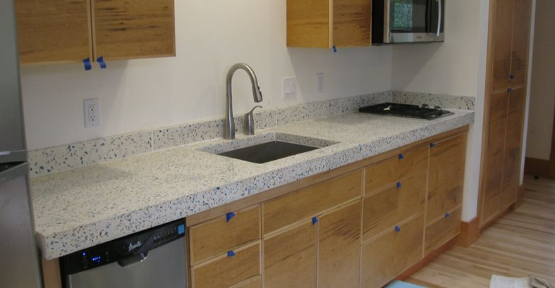 Bone White, Recycled Glass Aggregate Concrete Sinks Alchemy Construction Inc Arcata, CA