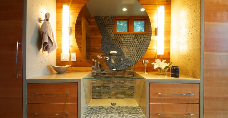 Concrete And Glass Sink Concrete Sinks Crouch Concrete, Inc. Sequim, WA