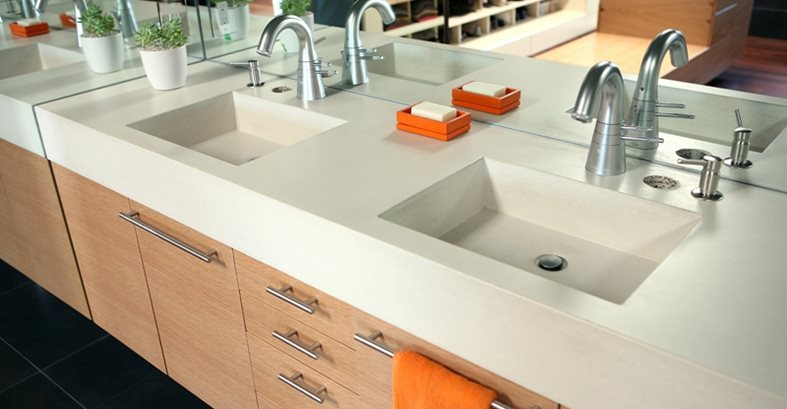 Integral Bathroom Sinks, Powder Room Concrete Sinks Concrete Sinks Pourfolio Custom Concrete San Diego, CA