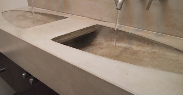 Modern, Double Sink Concrete Sinks Dewulf Concrete Santa Monica, CA