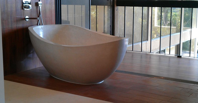Concrete, Tub, Bathroom, White Floor Logos and More DC Custom Concrete San Diego, CA