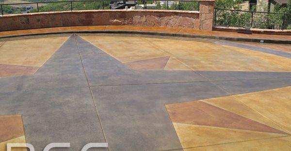 Driveway Design, Driveway Compass Floor Logos and More Rose Concrete Coatings LLC Riverton, UT