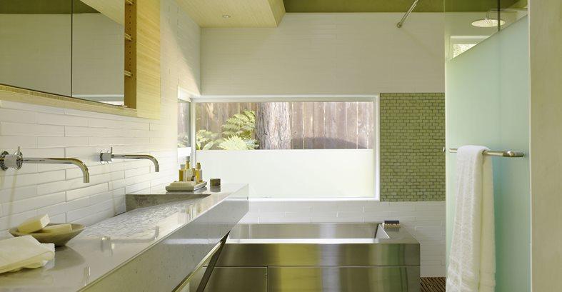 Bathroom Design, Concrete Sink, Stainless Steel Tub Site Cheng Design Berkeley, CA