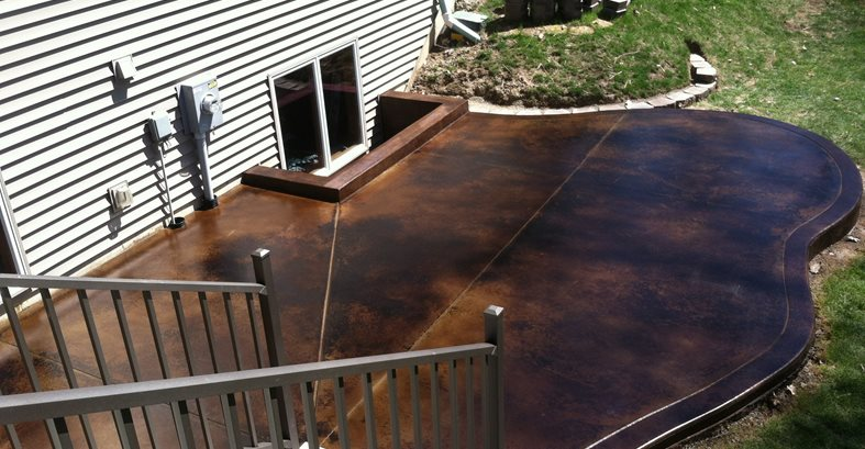 Black Acid Stain Site Dancer Concrete Design Fort Wayne, IN