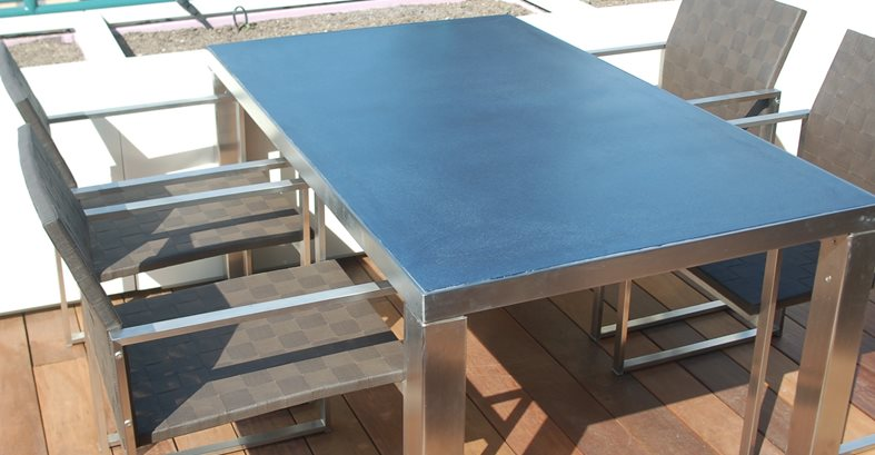 Blue Concrete Tabletop, Brushed Steel Base Site Kerr Concrete Evanston, IL