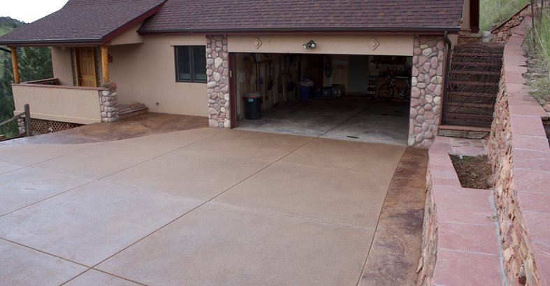 Brown Exposed Aggregate Driveway Site Diehl Concrete Sedalia, CO