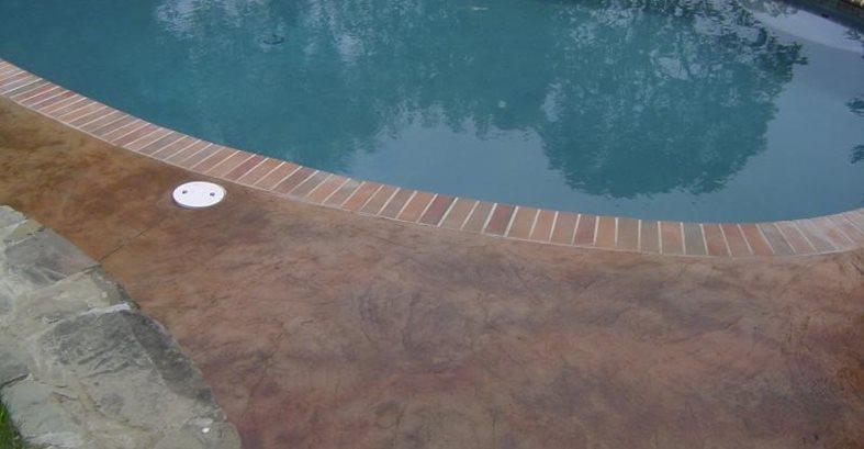 Colored Pool Deck With Borders Site Artistic Concrete Riverside, RI
