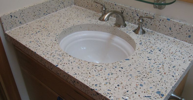 Concrete Bathroom Vanity, Decorative Glass Aggregate Site Alchemy Construction Inc Arcata, CA