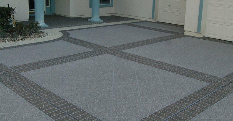 Concrete Driveway, Stenciled Brick Bands Site Custom Ram Design Ocala, FL