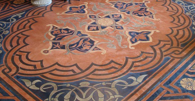 Concrete Floor Stencil, Modello Stenciled Floor, Stenciled Concrete Floor Site Modello Designs Chula Vista, CA