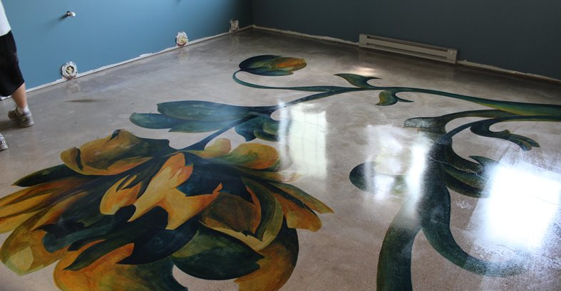 Concrete Flooring Was Hand-Painted With Water-Based Stains Site Nick Dancer Concrete Fort Wayne, IN