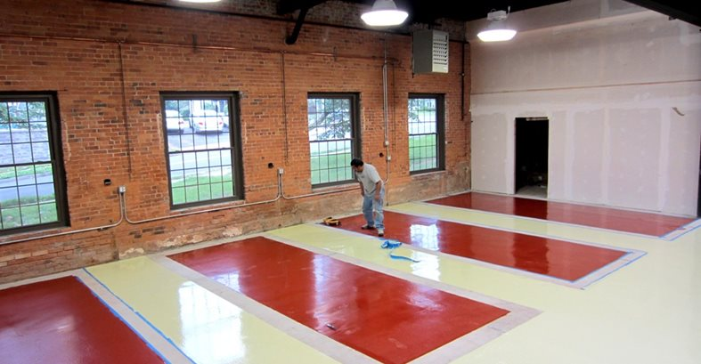 Epoxy Coating, Auto Shop, Parking Stalls, Red Epoxy Site Custom Concrete Solutions, LLC West Hartford, CT