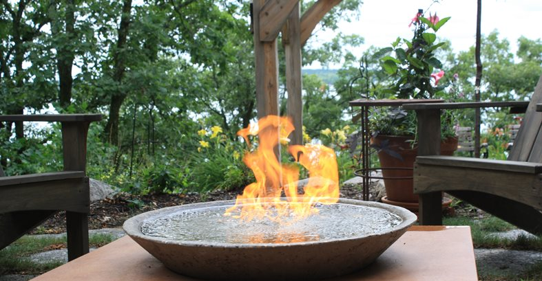 Fire Bowl Site Living Stone Concrete Design Candler, NC