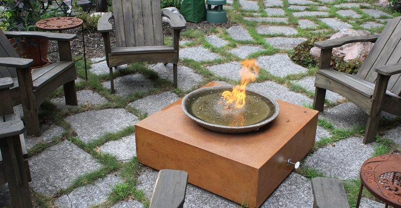 Fire Cube Site Living Stone Concrete Design Candler, NC
