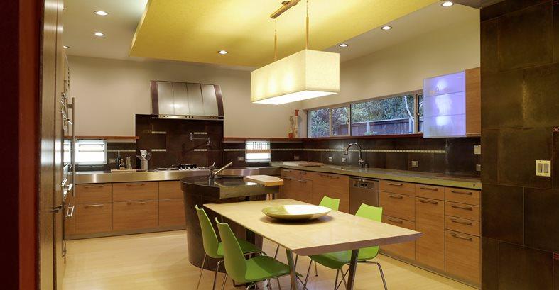 Kitchen, Island, Stainless Steel Site Cheng Design Berkeley, CA