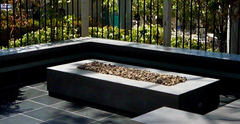 Modern Rectangular Concrete Fire Pit Site Opus Concrete Santa Ana, CA