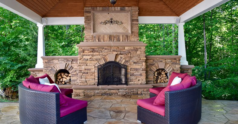 Outdoor Fireplace, Outdoor Pavilion Site Greystone Masonry Inc Stafford, VA