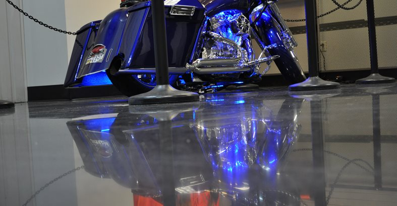 Polished Concrete, Motorcycle Dealership Site Dreamkrete Richmond, VA