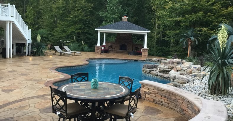 Pool Deck, Stamped Concrete, Woodbridge Site Greystone Masonry Inc Stafford, VA
