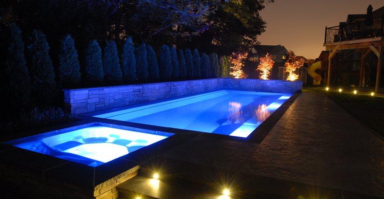Pool Night View Site Elite Crete Design Inc Oshawa, ON