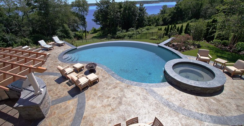 Pool Patio Concrete Site New England Hardscapes Inc Acton, MA