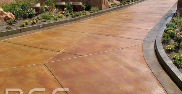Stained Concrete Driveway Site Rose Concrete Coatings LLC Riverton, UT