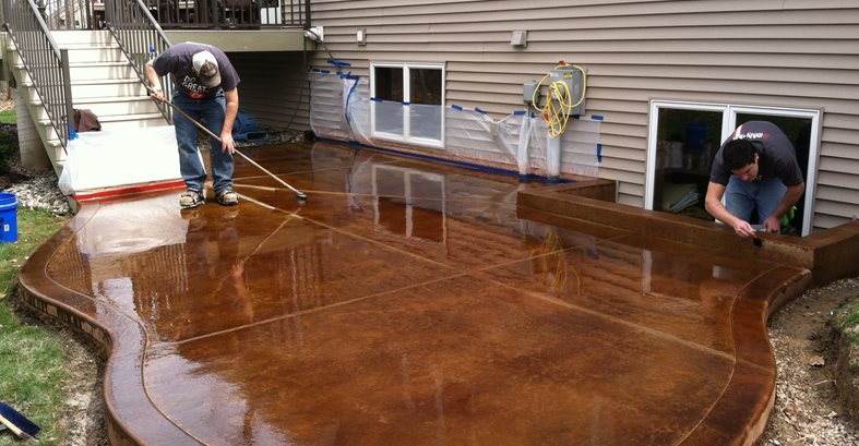 Staining Process Site Dancer Concrete Design Fort Wayne, IN