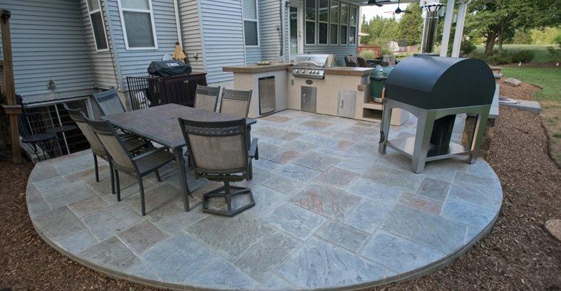 Stamped Concrete Patio, Round Patio Site Salzano Custom Concrete Aldie, VA