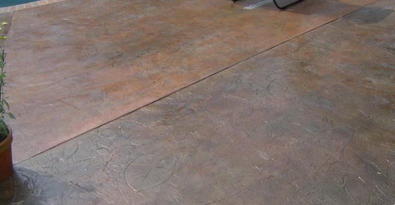 Stamped Leaf Pattern, Pool Deck Site Artistic Concrete Riverside, RI