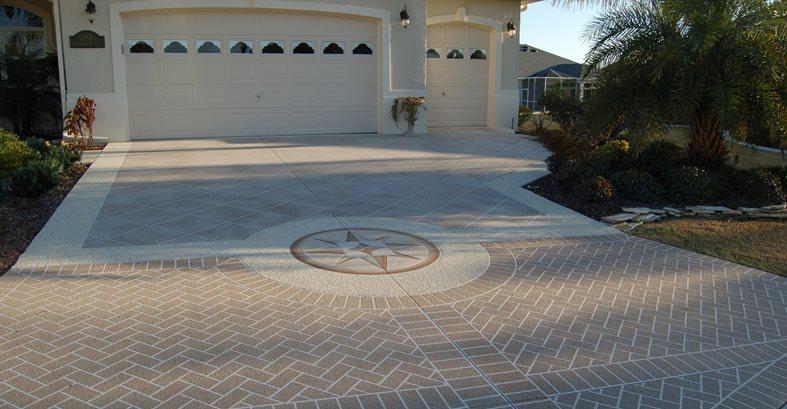 Stenciled Driveway Compass Design Site Custom Ram Design Ocala, FL