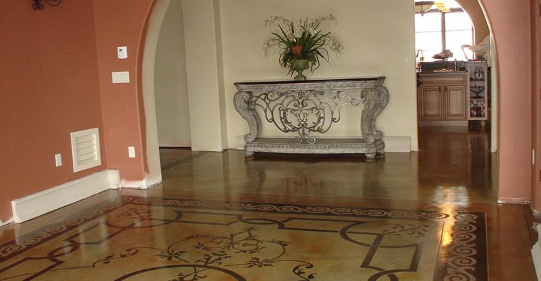 Stenciled Floor, Stained Floor, Patterned Floor Image-N-Concrete Designs Larkspur, CO