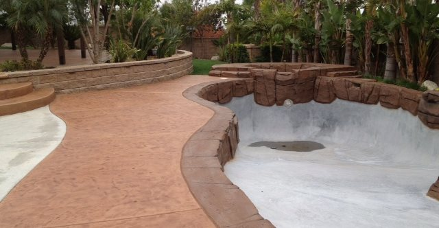 Textured Colored Concrete Pool Deck Site KB Concrete Staining Norco, CA