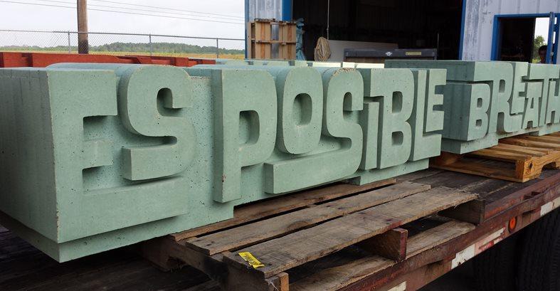 Typographic Concrete Bench Site C.S.W. Creations Simonton, TX