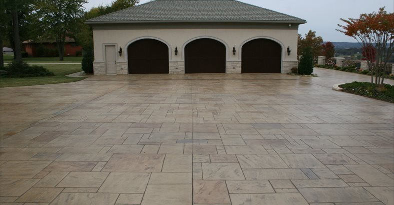 garage parking stamped stone stamped concrete ozark pattern concrete inc lowell - Concrete Driveway Design Ideas
