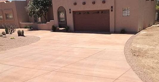 Colored, Adobe, Driveway Concrete Driveways Saturn Concrete Construction Phoenix, AZ