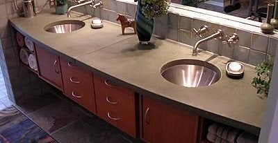 Curved, Double Sink Concrete Countertops Liquid Stone Designs Lenexa, KS