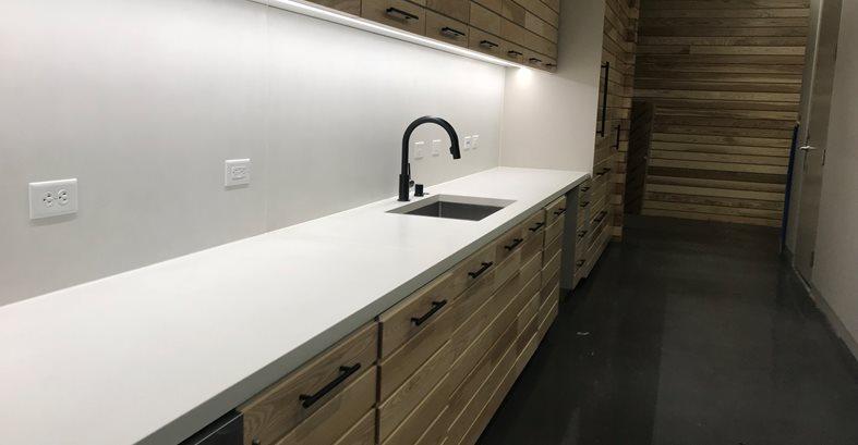 Break Room, White Counters Site Livingstone Concrete Studios Lincoln, RI