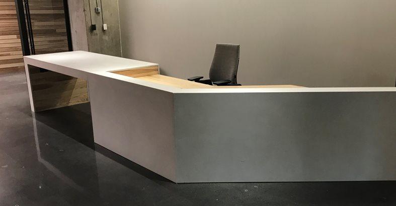 Concrete Desk, Office Reception Concrete Furniture Livingstone Concrete Studios Lincoln, RI