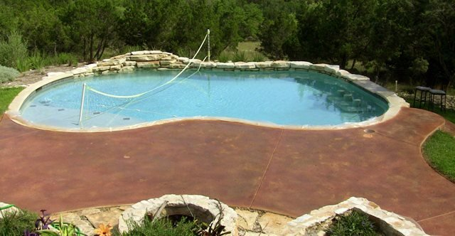 Stained, Pool Deck, Brown Concrete Pool Decks Diehl Concrete Sedalia, CO