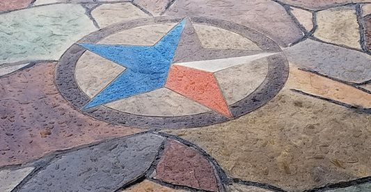 Texas Star, Stamped, Colored Site Angel's Concrete Design Services Houston, TX