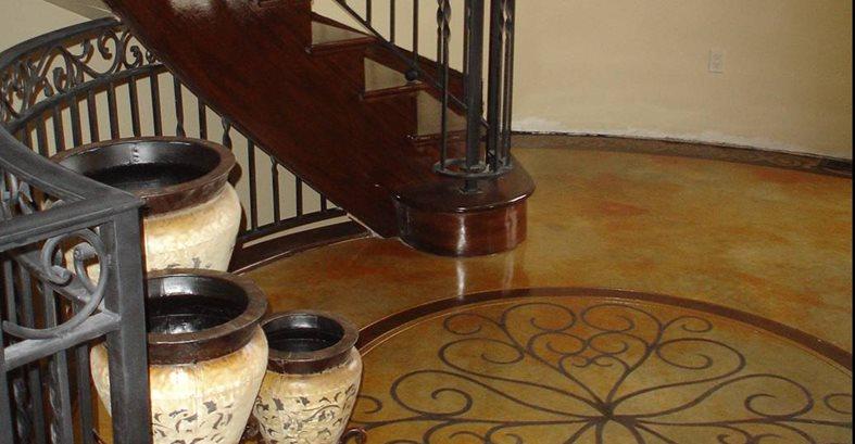 Stenciled, Entryway Concrete Floors Image-N-Concrete Designs Larkspur, CO