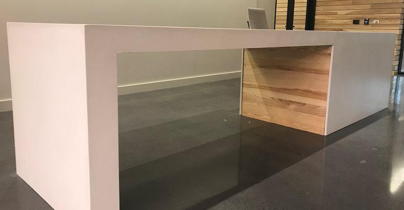 Modern Desk, Concrete And Wood Site Livingstone Concrete Studios Lincoln, RI