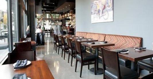 抛光,餐厅,桌子,混凝土地板